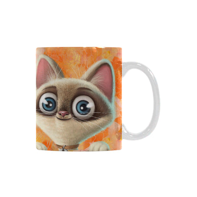 Kitten Lilly Orange Damask Classic White Mug