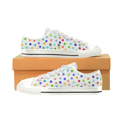 Polka Dot Party Women's Low Top Shoes, Canvas Casual Shoes