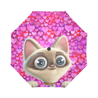 Kitten Lilly I Love You Automatic Foldable Umbrella