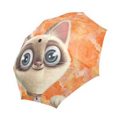 Kitten Lilly Orange Damask Automatic Foldable Umbrella