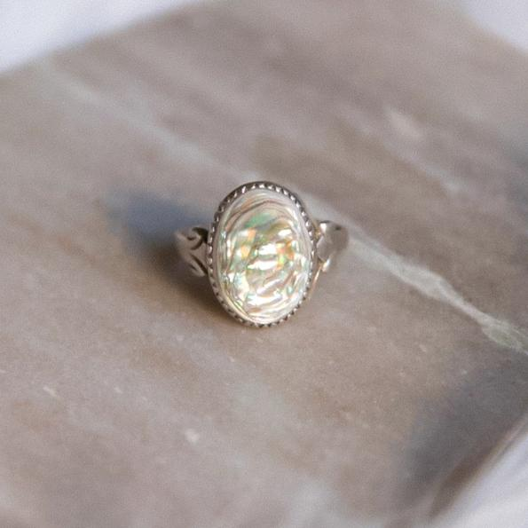 Vintage Abalone Shell Sterling Silver Ring | Iridescent Sea Stone