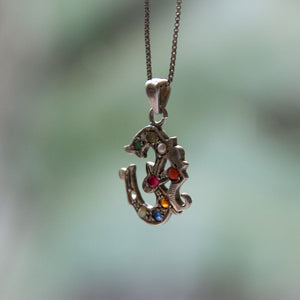 Vintage Om Multi-Colored Gemstone Pendant