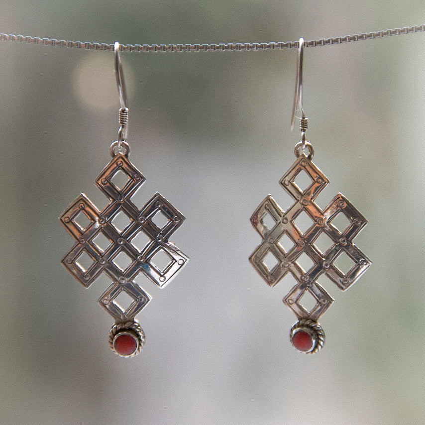 Vintage Tibetan Endless Knot Silver Earrings