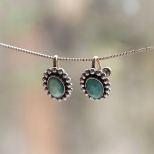 Vintage Zuni Deco Turquoise Sterling Silver Screwback Earrings