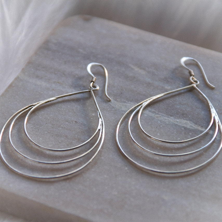 Sterling Silver Teardrop Loop Earrings | Dangle Drop Earrings