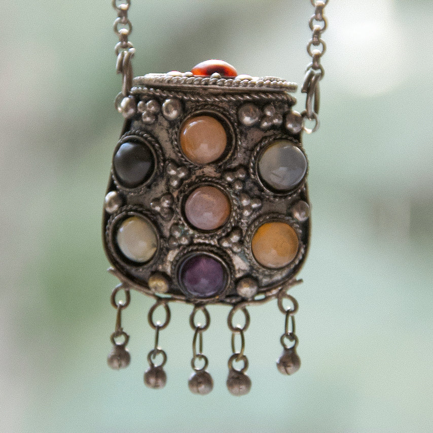 Vintage Boho Locket with Gemstones | Afghan Kuchi Prayer Box Pendant