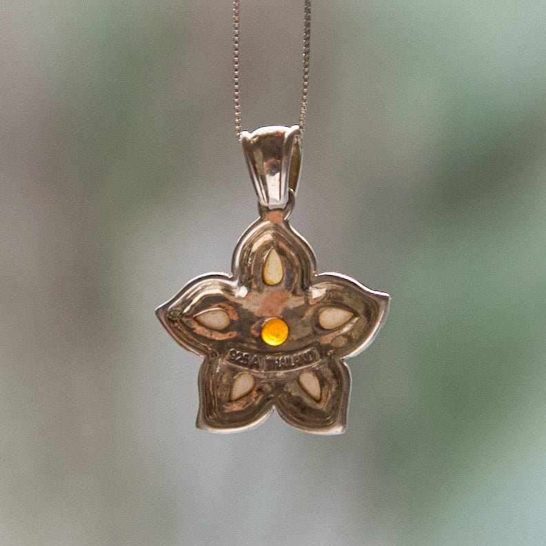 Vintage Thai Flower Gemstone Pendant