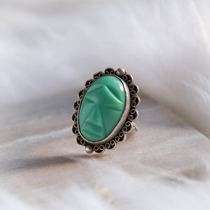 Vintage Sterling Silver Mayan Aztec Green Onyx Ring