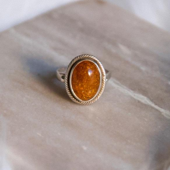 Vintage Sterling Silver Sunstone Ring