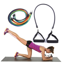 11 Piece Resistance Band Set- 5 Latex Bands, 2 Hand Grips, 2 Ankle Cuffs, 1 Door Anchor, 1 Carrying Bag