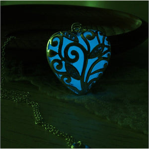 Luminous Copper Plating Silver Heart Pendant Glow  Necklace
