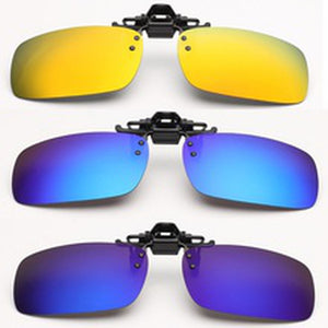 New Polarized Mirrored UV400 Clip-on Flip-up Sunglasses Driving Fishing Eyeglasses