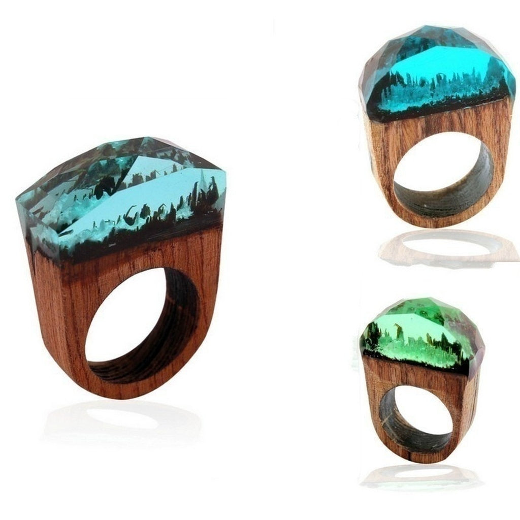 Creative Magic Forest Resin Wooden Ring Jewelry Fashion Gifts  (4 Colors)