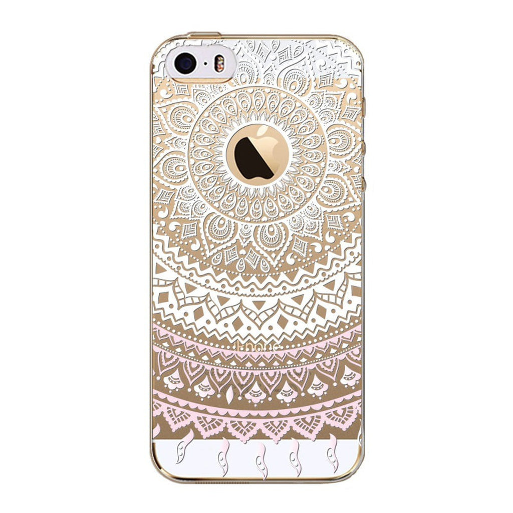 Retro Case For Apple iPhone 5 5S 5c SE 6 6s 6plus 6splus 7 7plus Flower Mandala Henna Coque Clear Silicone Soft Cover Fundas