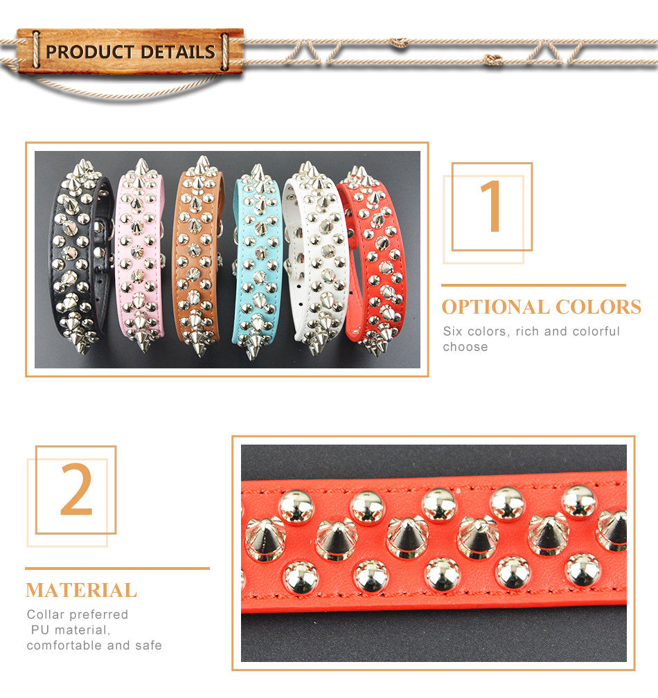 Leather Studded Round Spikes BullDog Style Pet Collar