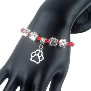 Fashion Hand-Woven Rope Chain Charm Bracelet with dog paw design  for women