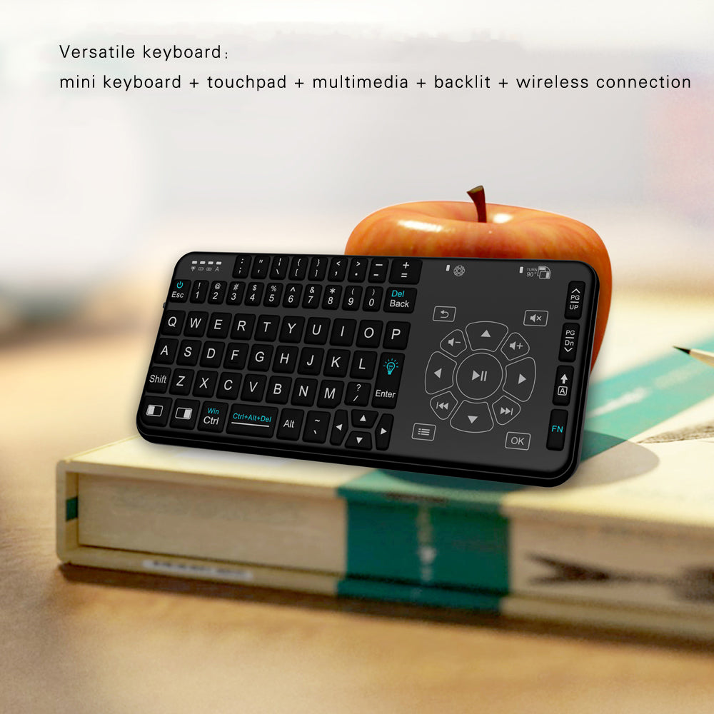 Rii Wireless Keyboard Handheld Multifunction Backlit Keyboard with Touchpad