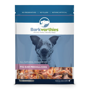 Barkworthies Pig Ear Medallions 12 Count