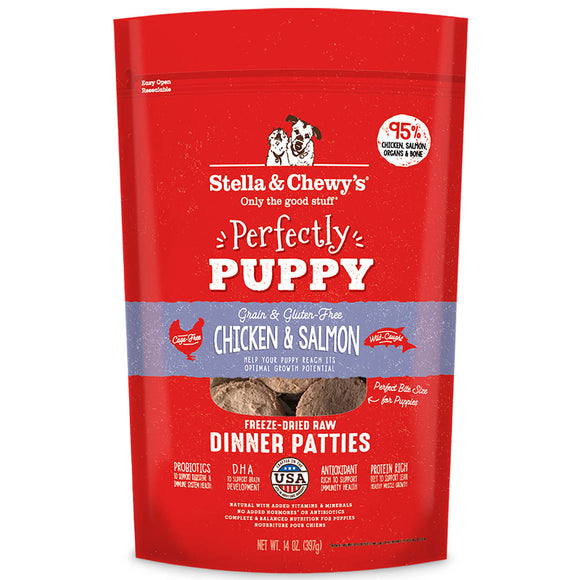 Stella & Chewy's Puppy Chicken & Salmon Dinner Patties Grain-Free Freeze-Dried 14oz