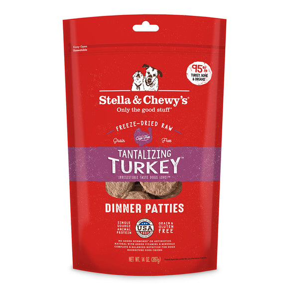 Stella & Chewy's Tantalizing Turkey Dinner Patties Grain-Free Freeze-Dried (5.5oz - 14oz)
