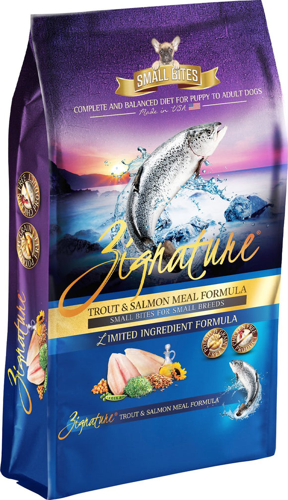 Zignature Small Bites Trout & Salmon Limited Ingredient Formula Grain-Free Dry Dog Food 13.5lb