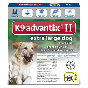 K9 Advantix II Extra Large Dog 55lb+ (2 dose - 6 dose) - Qualifies for No Minimum Order +Free Ship to Yuba City