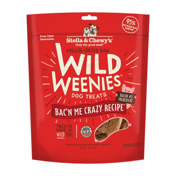 Stella & Chewy's Wild Weenies Bac'n Me Crazy Freeze-Dried Raw Dog Treats 3.25oz Bag
