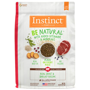 Nature's Variety Instinct Be Natural Real Beef & Barley Recipe Freeze-Dried Raw Coated Dry Dog Food Kibble 25lb