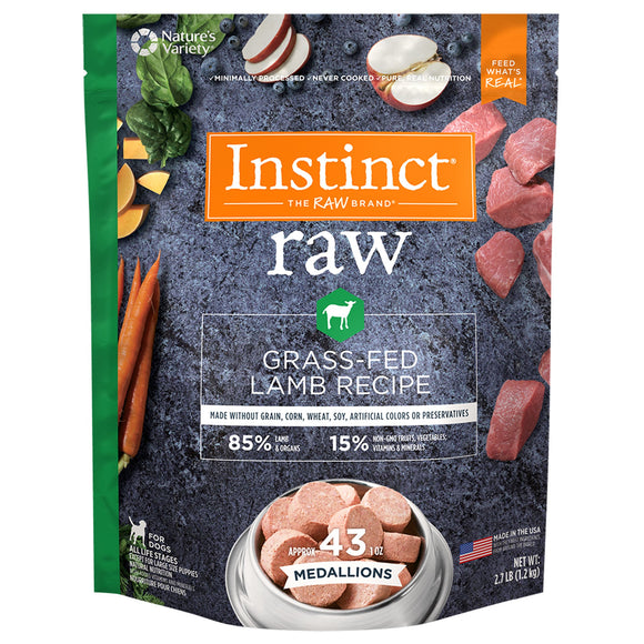 FROZEN RAW Nature's Variety Instinct Medallions Grass-Fed Lamb  Recipe - 2.7lb