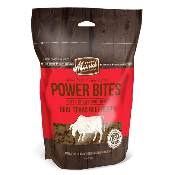 Merrick Power Bites Real Texas Beef Recipe Grain-Free Soft & Chewy Dog Treats