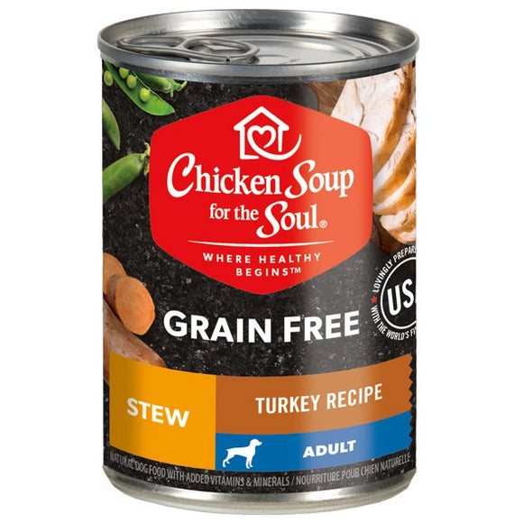 Chicken Soup for the Soul Turkey & Salmon Stew Grain Free Canned Dog Food, 13-oz