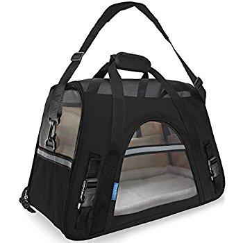 Oxgord Pet Carrier with Fleece Bed - Most Airline Approved (Black) - Qualifies for No Minimum Order +Free Yuba City Ship