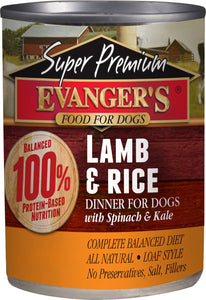 Evanger's Super Premium Lamb & Rice Dinner Canned Dog Food 12.8oz