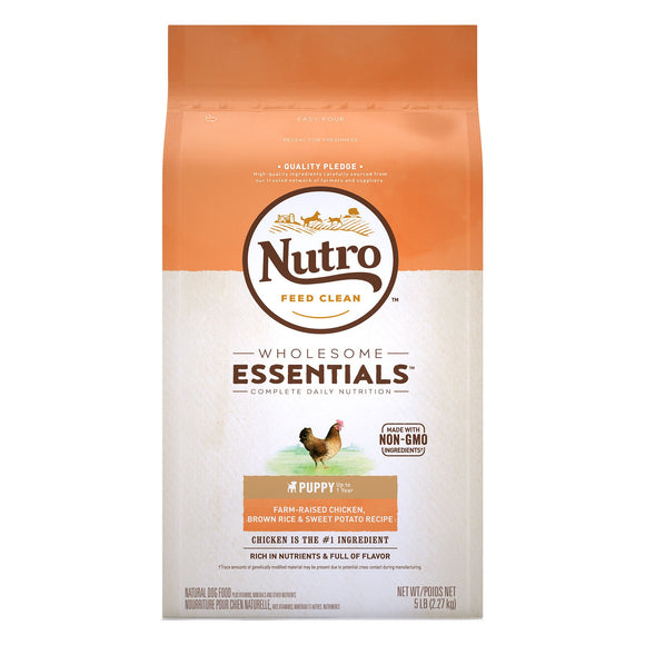 Nutro Wholesome Essentials Puppy Farm Raised Chicken, Brown Rice & Sweet Potato Recipe Dry Dog Food 5lb