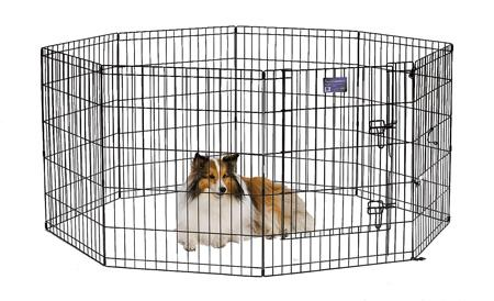 MidWest Exercise Pen Black E-Coat with Step-Thru Door
