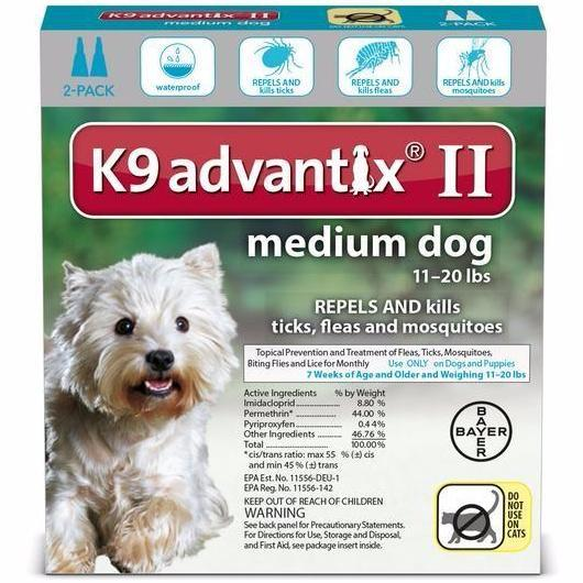 K9 Advantix II Medium Dog 11 - 20lb (2 dose - 6 dose) - Qualifies for No Minimum Order +Free Ship to Yuba City