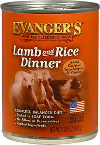 Evanger's Classic Lamb & Rice Dinner Canned Dog Food 12.8oz