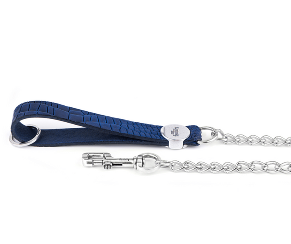 Tucson Blue Crocodile Texture Italian Leather Chain Leash