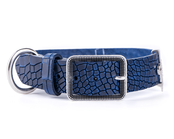Tucson Blue Crocodile Texture Italian Leather Collar