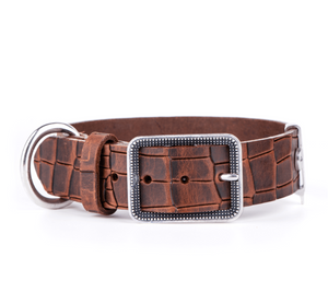 Tucson Brown Crocodile Texture Italian Leather Collar