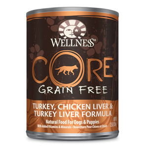 Wellness CORE Natural Grain Free Turkey, Chicken Liver & Turkey Liver Recipe Wet Dog Food 12.5oz