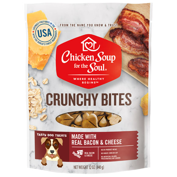 Chicken Soup for the Soul Dog Treats Bacon & Cheese Crunchy Bites 12oz Bag