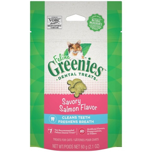 Greenies Feline Oven Savory Salmon Flavor Dental Cat Treats 2.1oz
