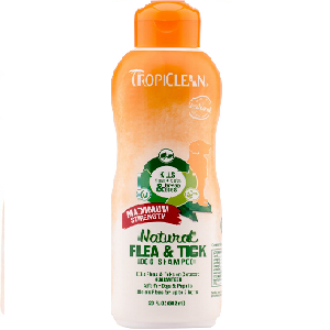 TropiClean Maximum Strength Natural Flea & Tick Dog Shampoo 20 oz Bottle
