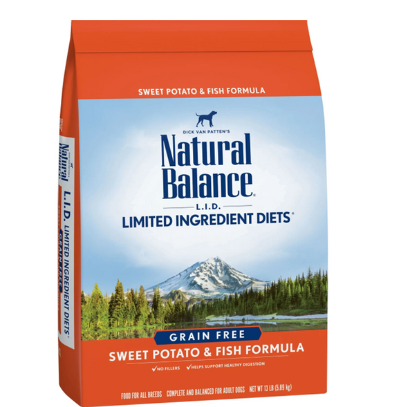 Natural Balance L.I.D Grain Free Sweet Potato & Fish Dry Dog Food 13lb