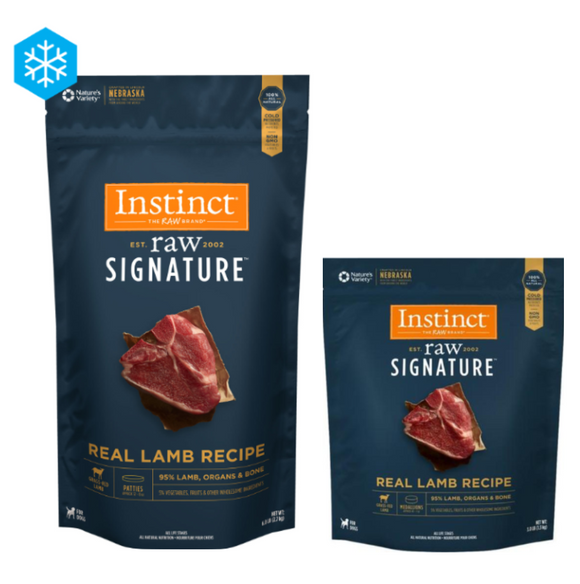 Instinct Raw Signature Frozen Raw Patties 95% Lamb Recipe (3lb, 6lb)