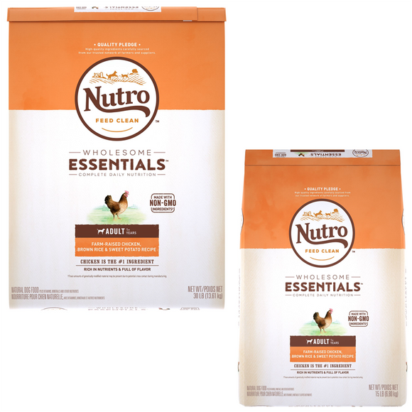 Nutro Wholesome Essentials Adult Farm Raised Chicken, Brown Rice & Sweet Potato Recipe Dry Dog Food (15lb, 30lb)