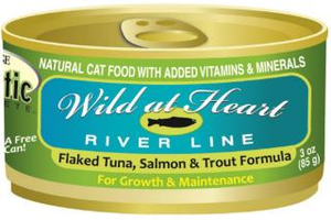 "Precise Holistic Complete Tuna, Salmon & Trout ""Wild at Heart River Line"" Canned Cat Food 3oz"