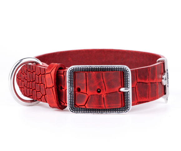 Tucson Red Crocodile Texture Italian Leather Collar