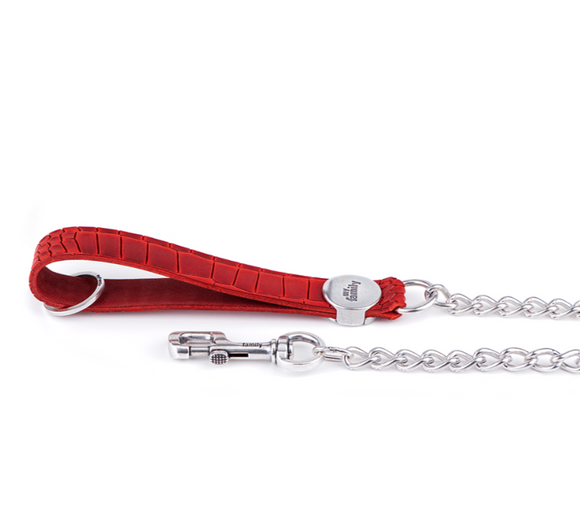 Tucson Red Crocodile Texture Italian Leather Chain Leash